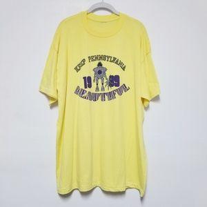1989 Vintage Pennsylvania Graphic Tshirt Yellow